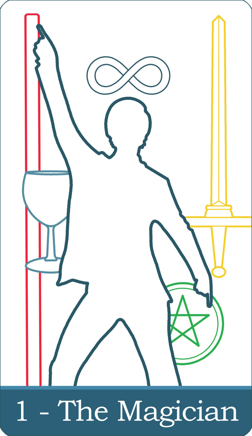 A reversed image of The Magician tarot card from The Simple Tarot Deck.