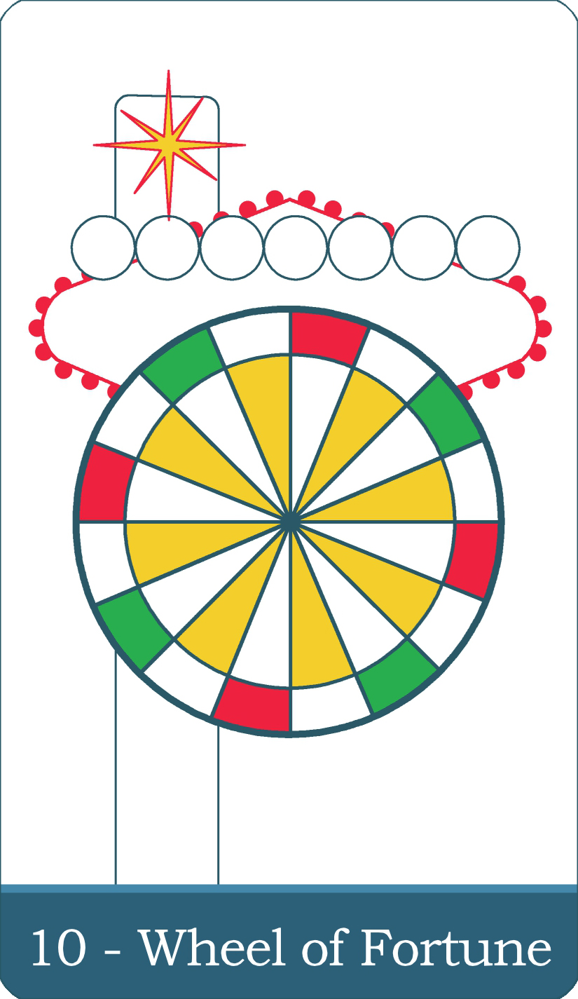 A reversed image of The Wheel of Fortune tarot card from The Simple Tarot Deck.