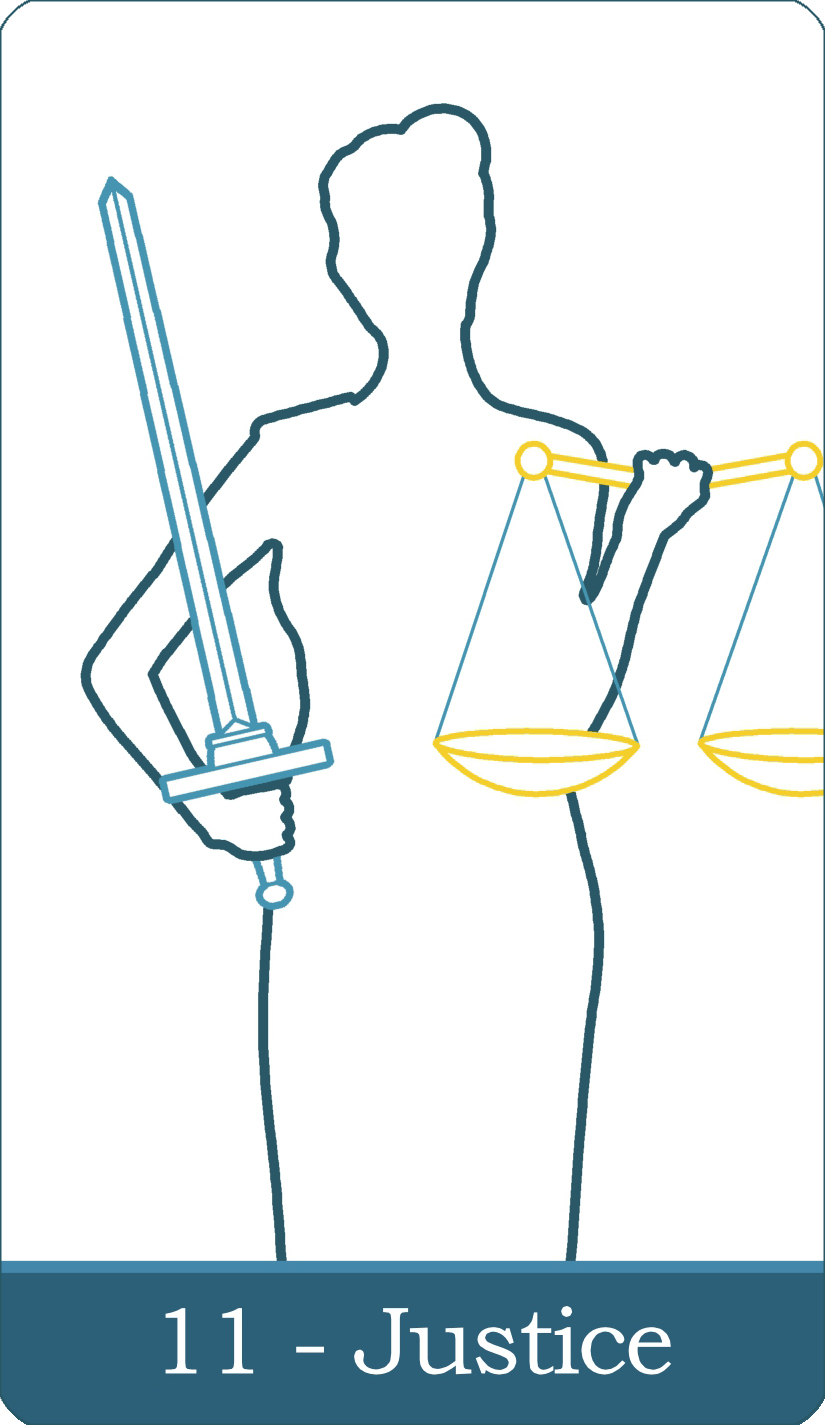 A reversed image of The Justice tarot card from The Simple Tarot Deck.