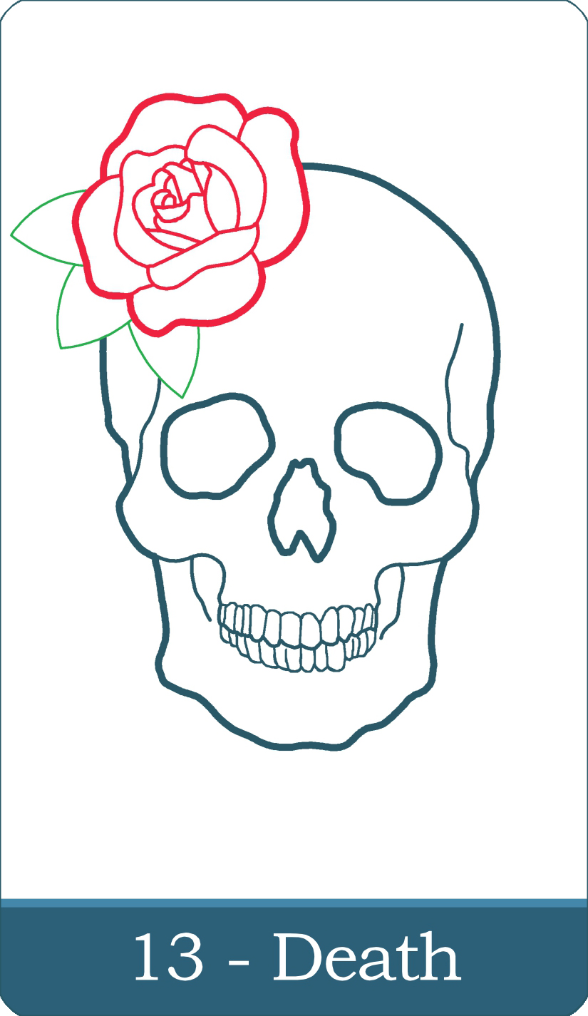 A reversed image of The Death tarot card from The Simple Tarot Deck.