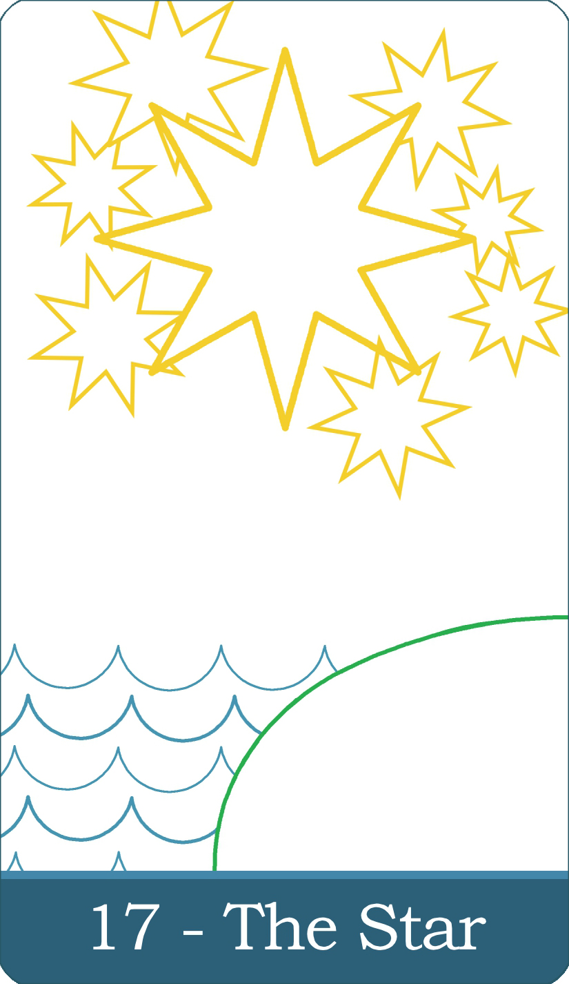 A reversed image of The Star tarot card from The Simple Tarot Deck.
