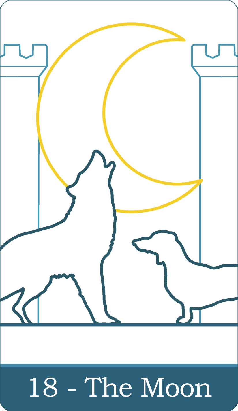 A reversed image of The Moon tarot card from The Simple Tarot Deck.