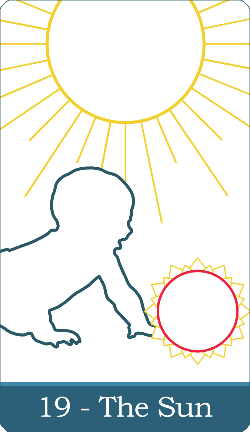 A reversed image of The Sun tarot card from The Simple Tarot Deck.