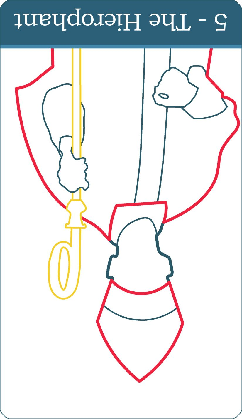 A reversed image of The Hierophant tarot card from The Simple Tarot Deck.