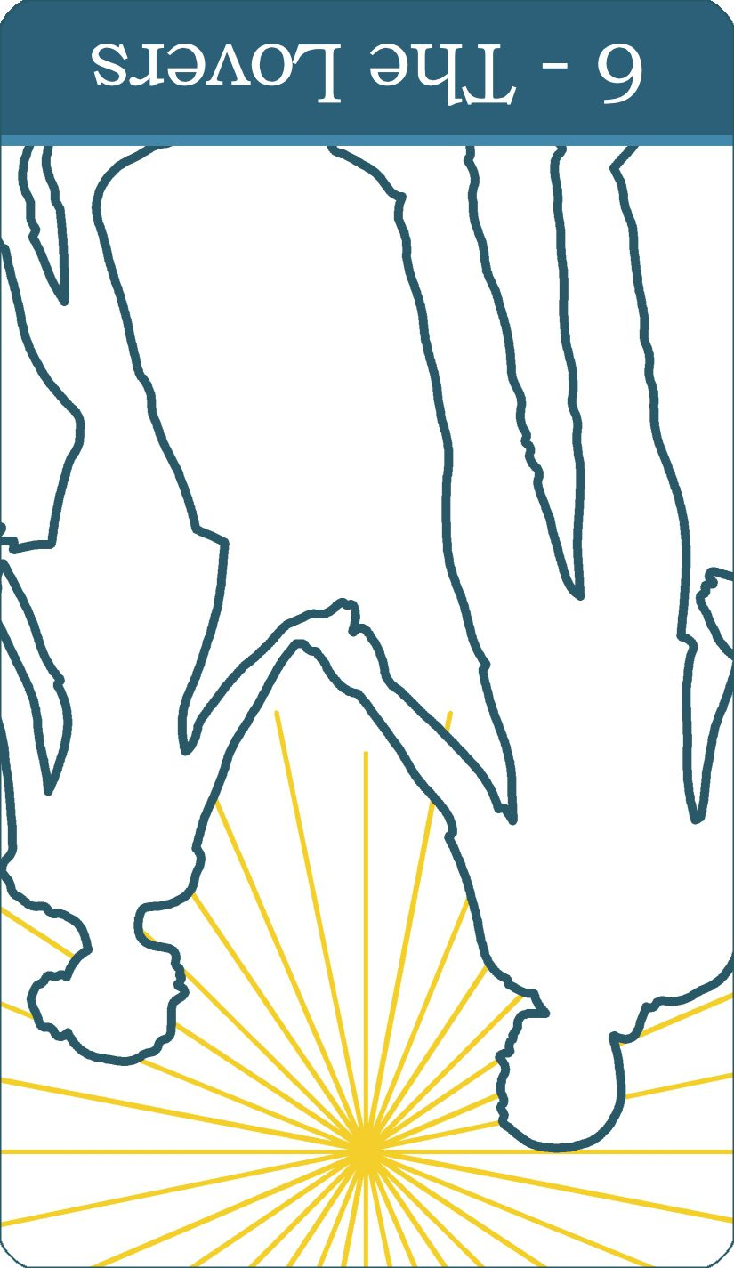 A reversed image of The Lovers tarot card from The Simple Tarot Deck.
