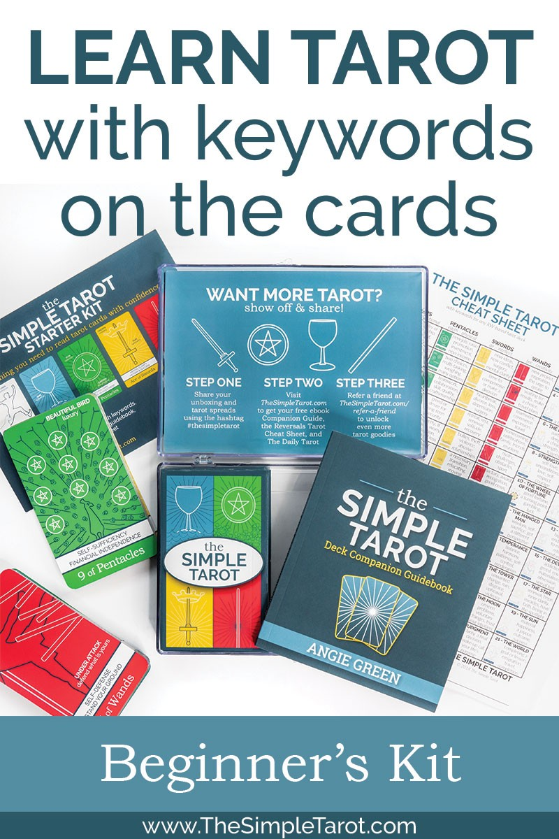 The Simple Tarot Deck is a modern 78-card tarot deck designed to make learning the tarot simple and fun. It is color-coded and has the tarot card meanings printed on the cards. This Kit includes a 120+ page companion guide with simple explanations for the cards and clear instructions on how to use them to brainstorm new ideas, strengthen your intuition, and discover new ways of thinking. Get your copy today at TheSimpleTarot.com. #tarot #tarotdeck