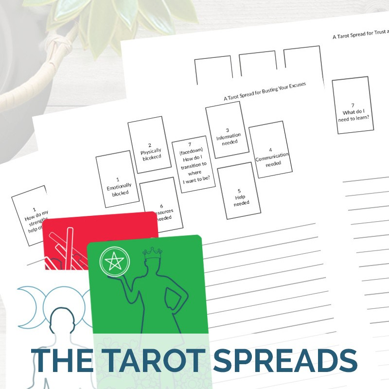 Printable PDF tarot spreads journaling pages with cards from The Simple Tarot Deck.