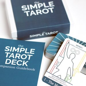 The Beginner Version of The Simple Tarot Deck with companion guidebook.