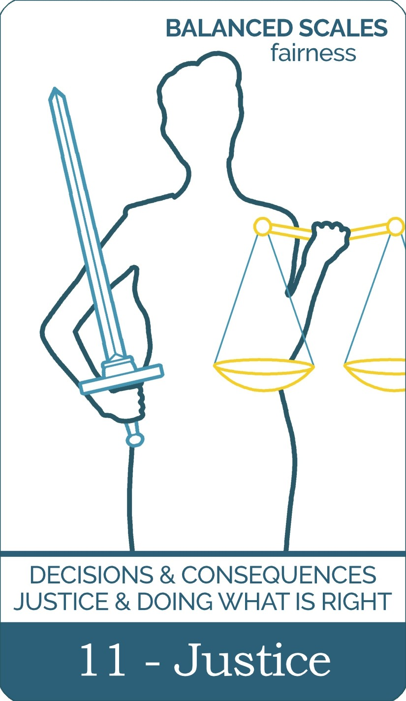 The Justice tarot card from The Simple Tarot Deck. Card includes keyword tarot card meanings.