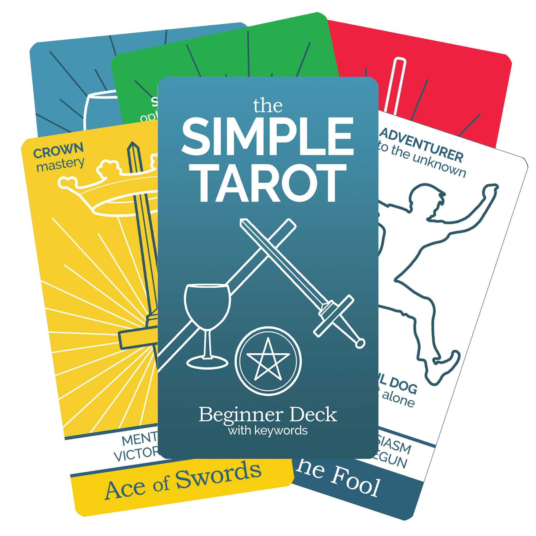 The Simple Tarot Deck Beginner Version with tarot keywords.