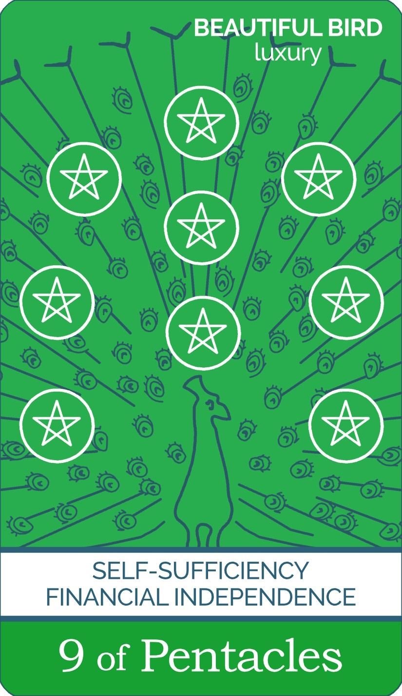 The Nine of Pentacles tarot card meaning from The Simple Tarot Deck. Card includes keyword tarot card meanings.