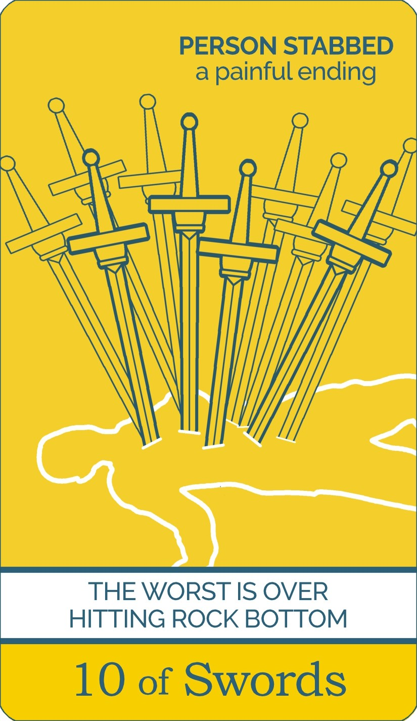 The Ten of Swords tarot card meaning from The Simple Tarot Deck. Card includes keyword tarot card meanings.