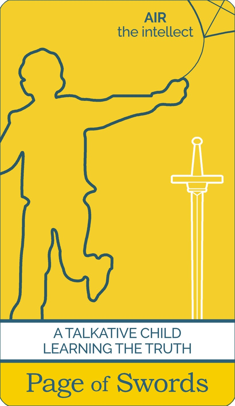 The Page of Swords tarot card meaning from The Simple Tarot Deck. Card includes keyword tarot card meanings.