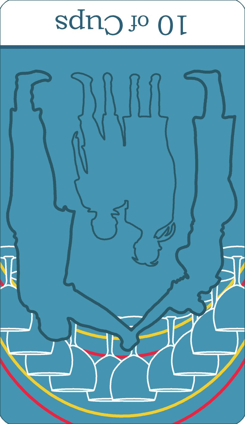 A reversed image of The Ten of Cups tarot card from The Simple Tarot Deck.
