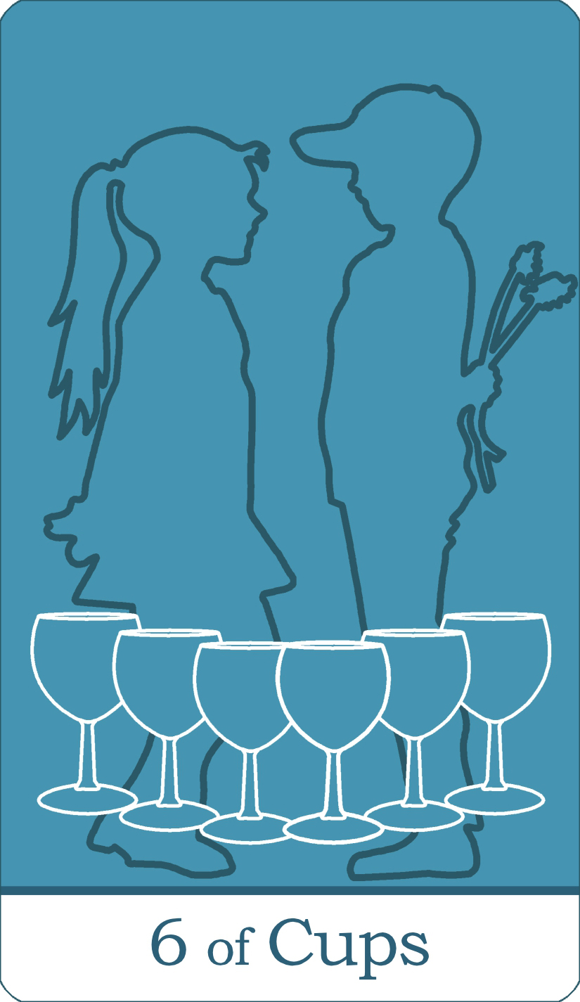 A reversed image of The Six of Cups tarot card from The Simple Tarot Deck.