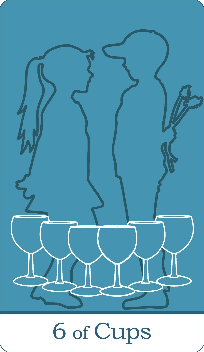 The Six of Cups tarot card from The Simple Tarot Deck.