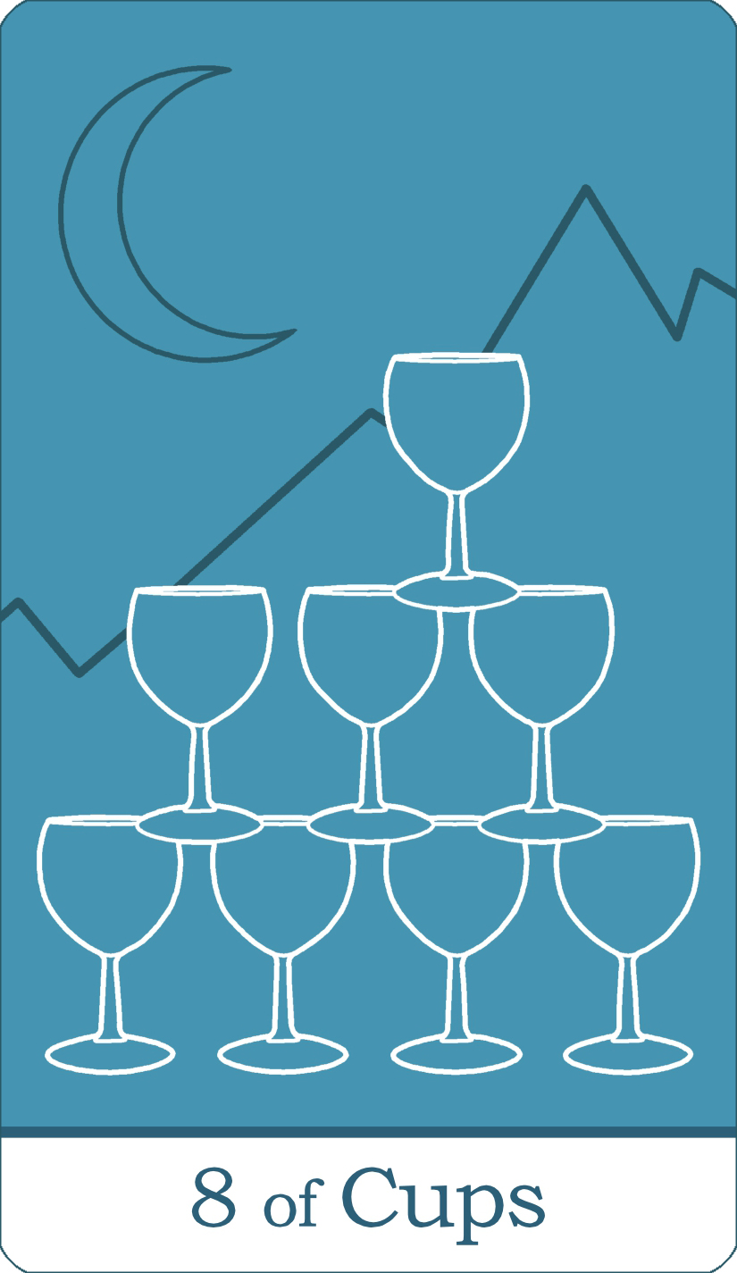 A reversed image of The Eight of Cups from The Simple Tarot Deck.