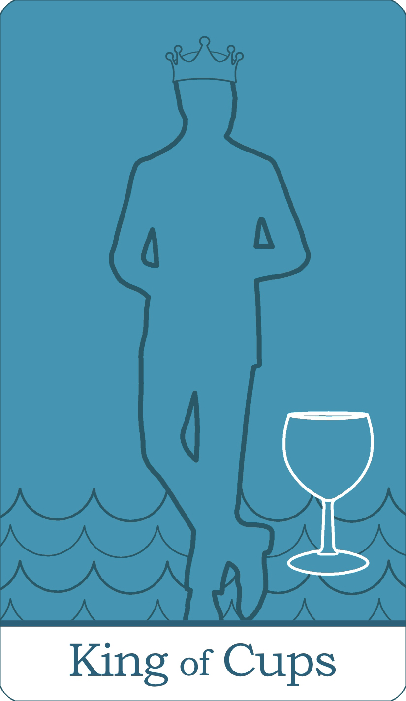 A reversed image of The King of Cups tarot card from The Simple Tarot Deck.