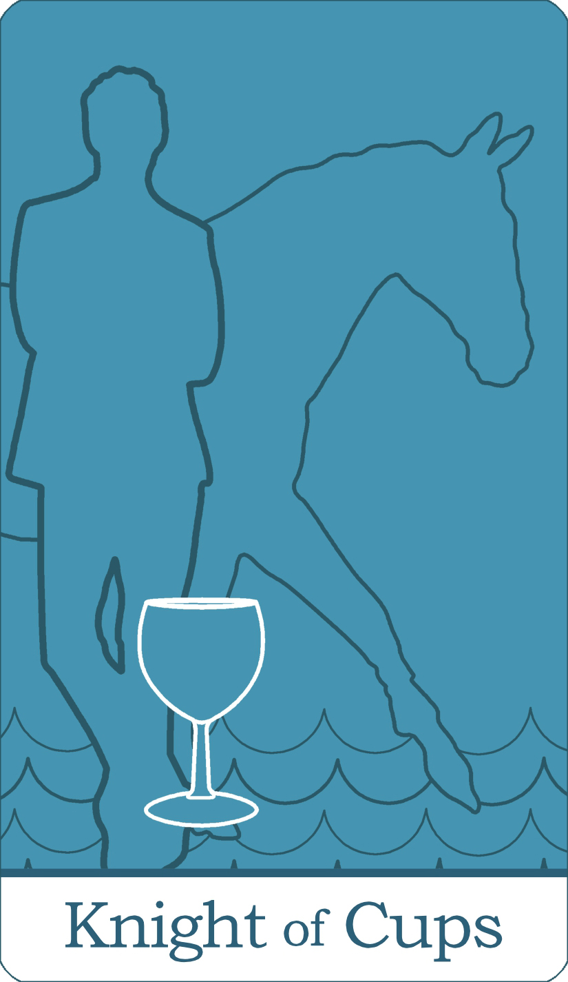 A reversed image of The Knight of Cups tarot card from The Simple Tarot Deck.