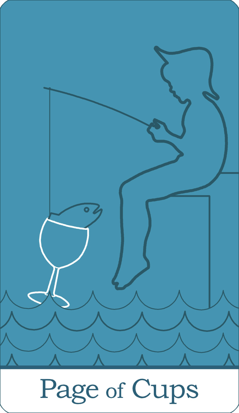 A reversed image of The Page of Cups tarot card from The Simple Tarot Deck.