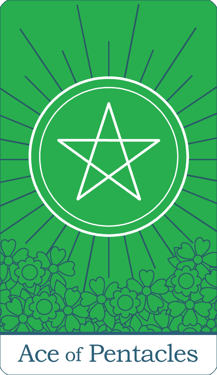 A reversed image of The Ace of Pentacles from The Simple Tarot Deck.