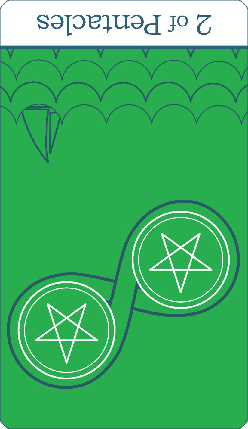A reversed image of The Two of Pentacles tarot card from The Simple Tarot Deck.