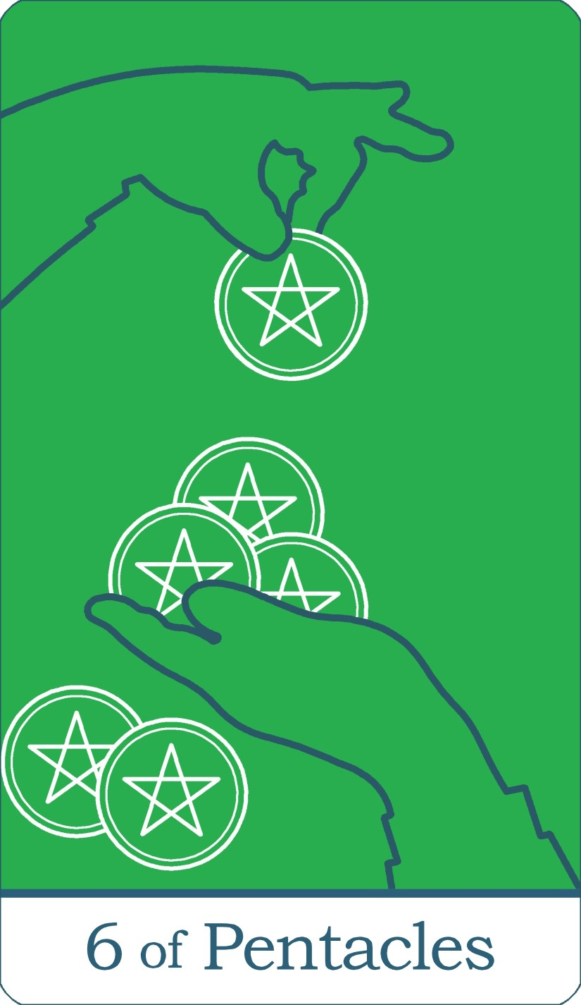 The Six of Pentacles tarot card from The Simple Tarot Deck.