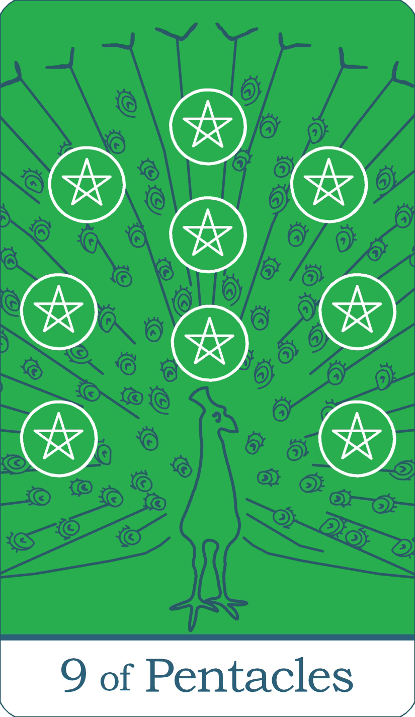 A reversed image of The Nine of Pentacles tarot card from The Simple Tarot Deck.