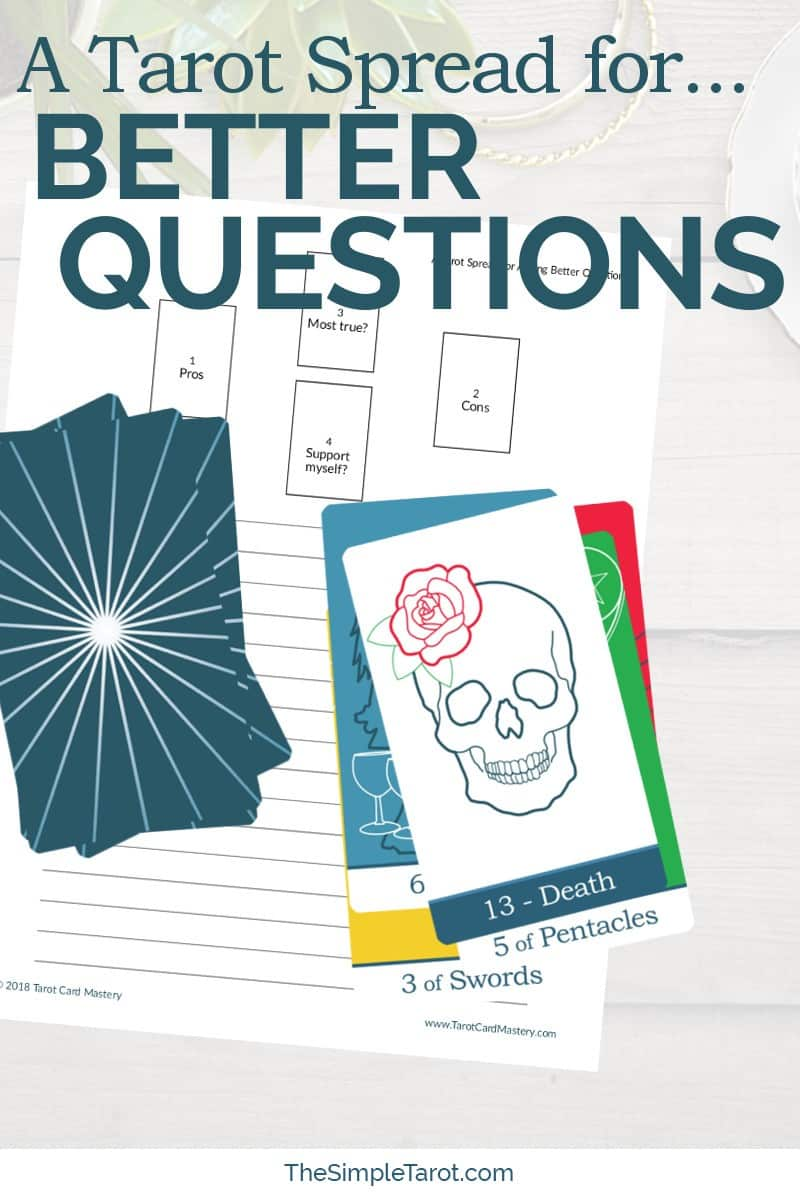 Get this PDF printable Tarot Spread for Asking Better Questions from The Simple Tarot. It comes with a downloadable tarot journaling page. Visit www.TheSimpleTarot.com to learn more...