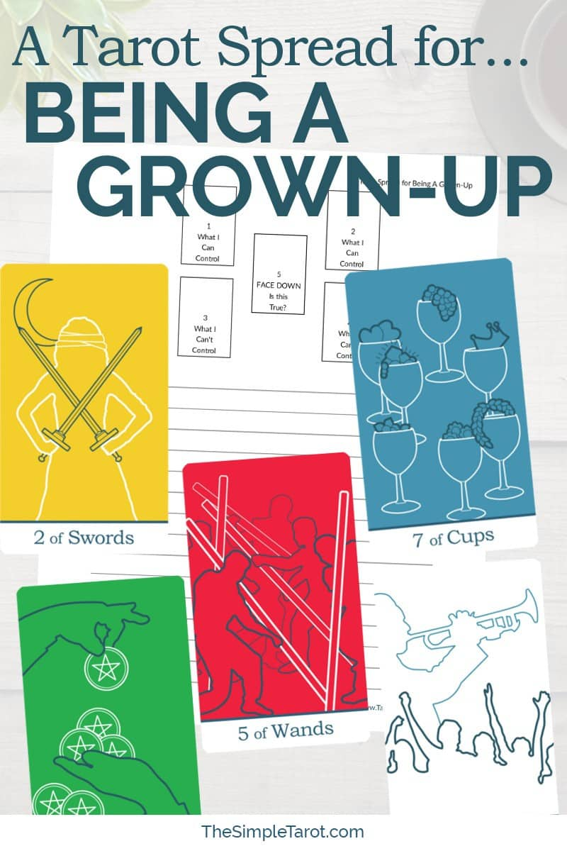 Get a printable and downloadable Tarot Spread for Being a Grown-Up from The Simple Tarot. Visit www.TheSimpleTarot.com for more tarot spreads, The Daily Tarot tarotscopes, and more.