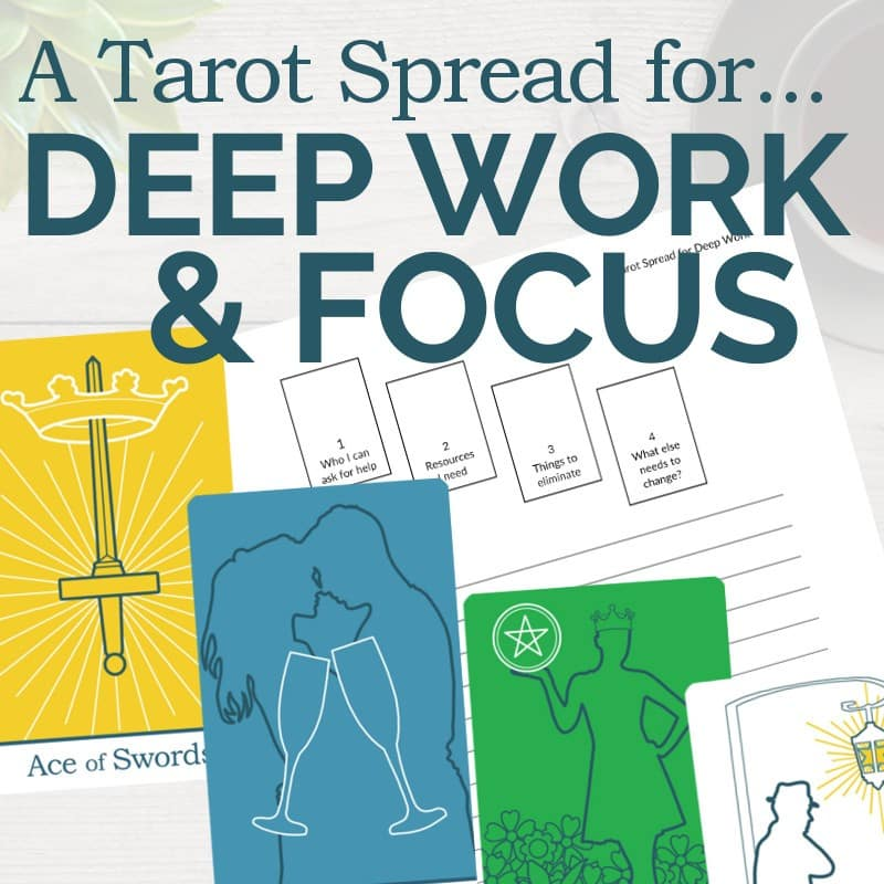 Get this PDF printable tarot spread for Deep Work and Focus from The Simple Tarot.