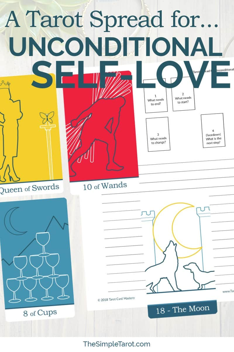 Do you struggle with shame or guilt? Get this Tarot Spread for Unconditional Self-Love from The Simple Tarot (with companion tarot journal page) to help. Visit www.TheSimpleTarot.com for more tarot spreads, tips, tools, and resources for learning how to read tarot cards...