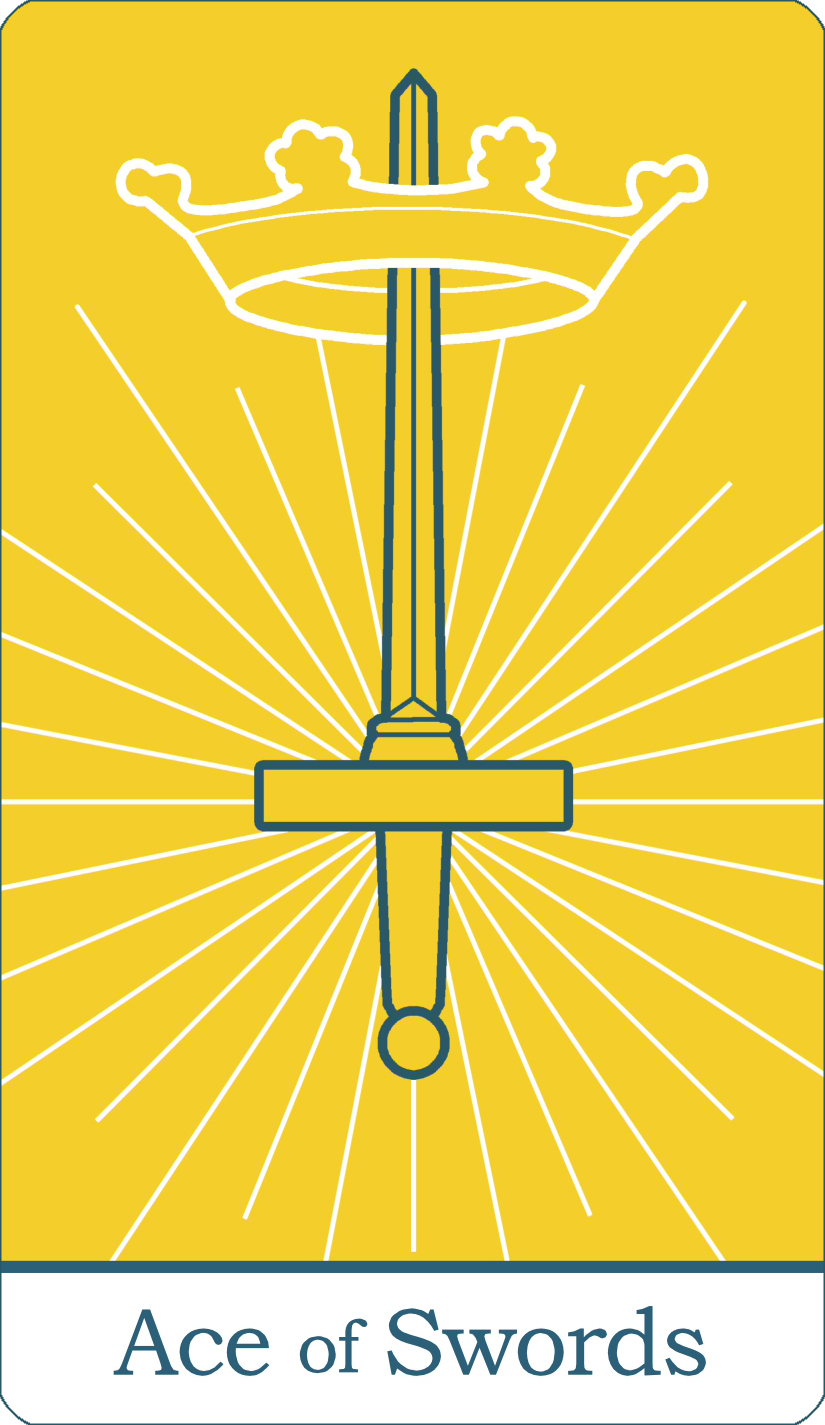 A reversed image of The Ace of Swords from The Simple Tarot Deck.