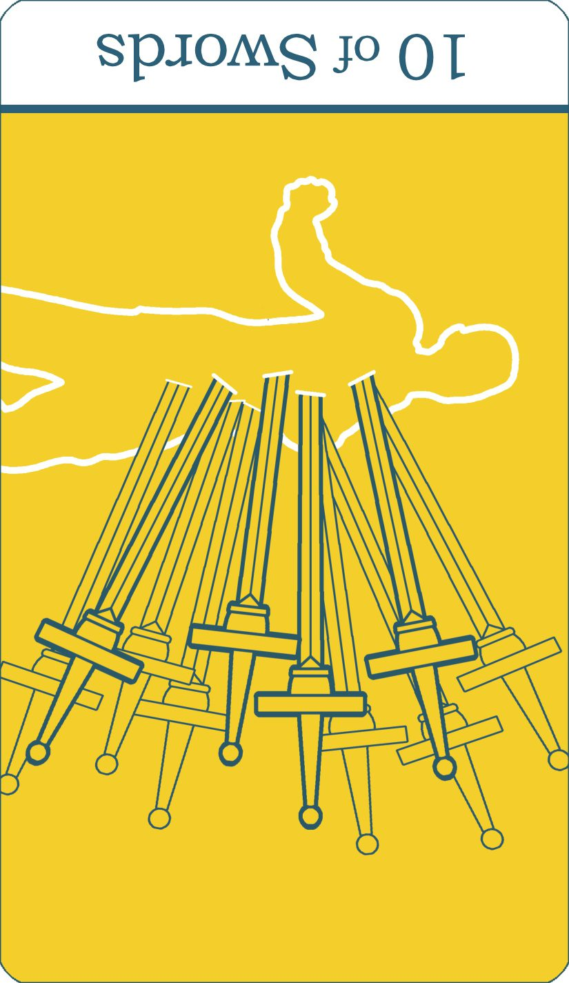 A reversed image of The Ten of Swords tarot card from The Simple Tarot Deck.