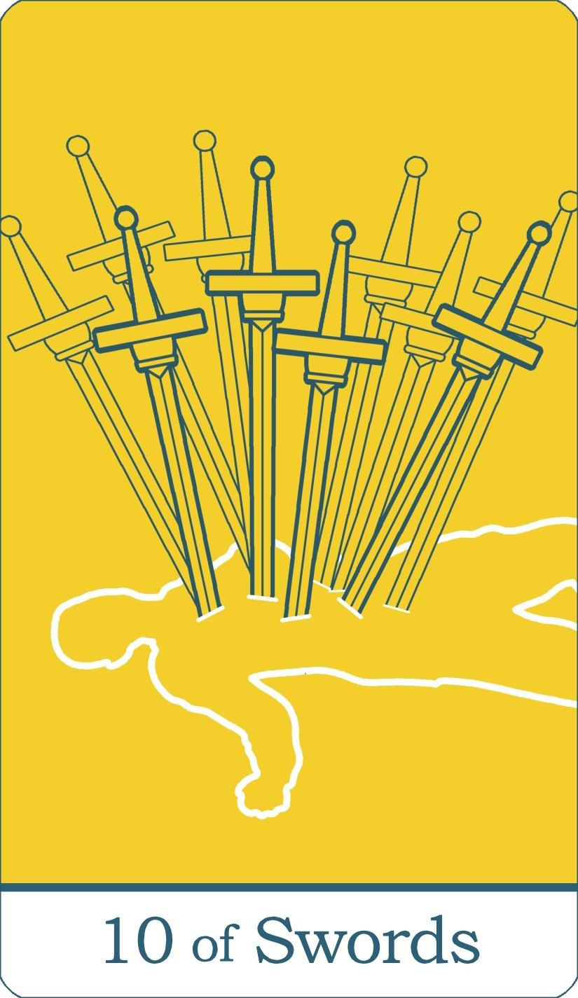 The Ten of Swords tarot card from The Simple Tarot Deck.