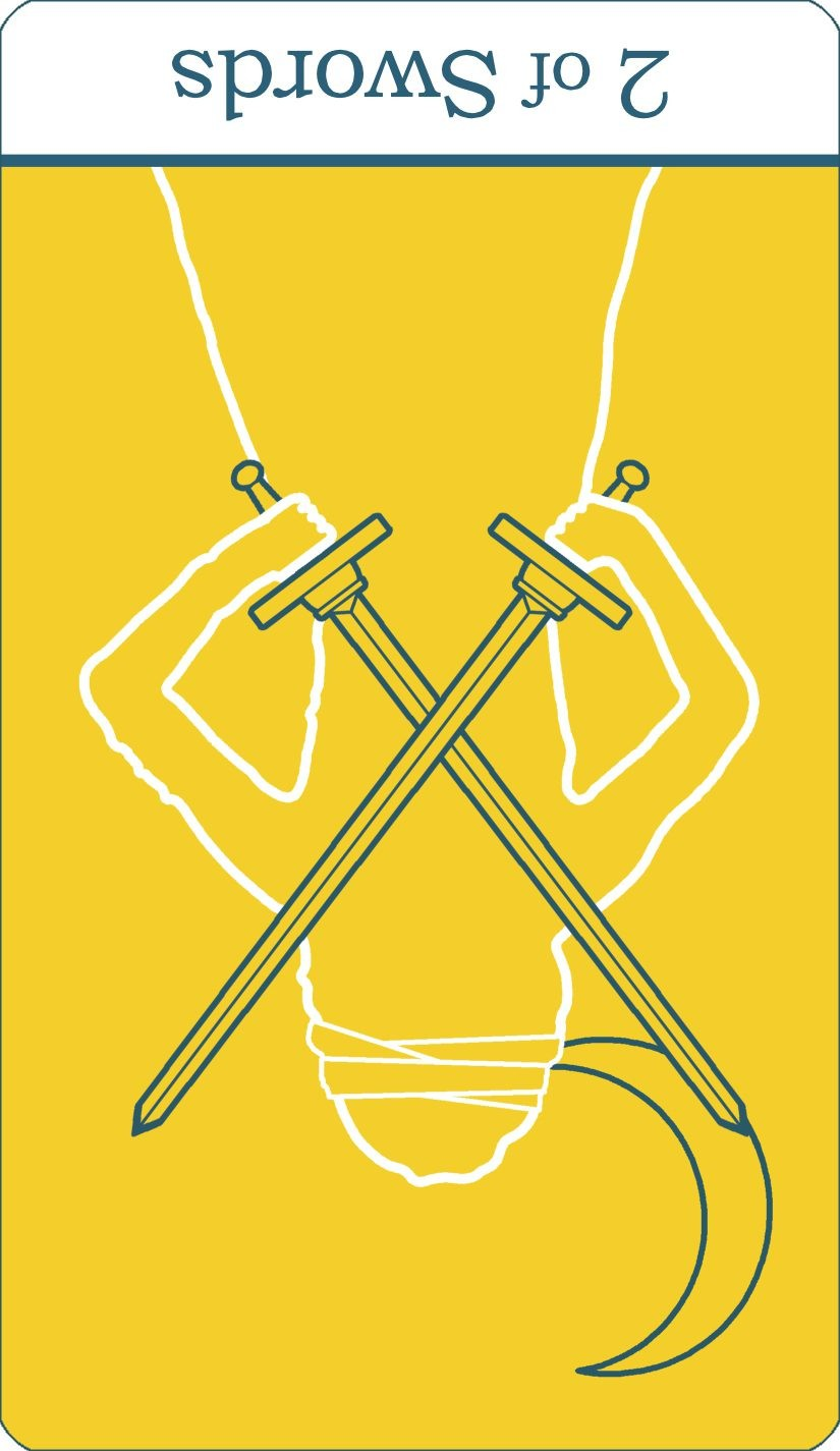 A reversed image of The Two of Swords tarot card from The Simple Tarot Deck.