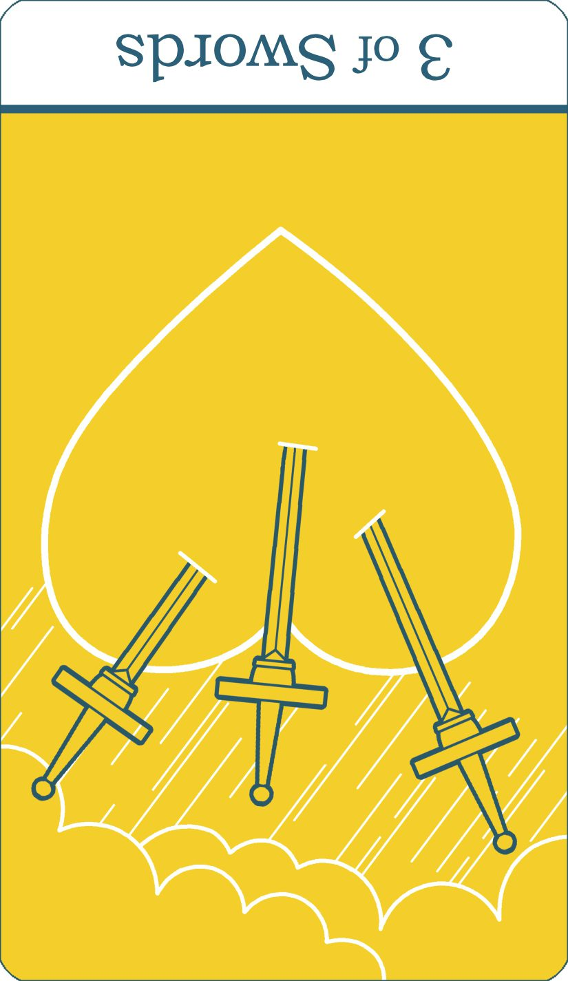 A reversed image of The Three of Swords tarot card from The Simple Tarot Deck.