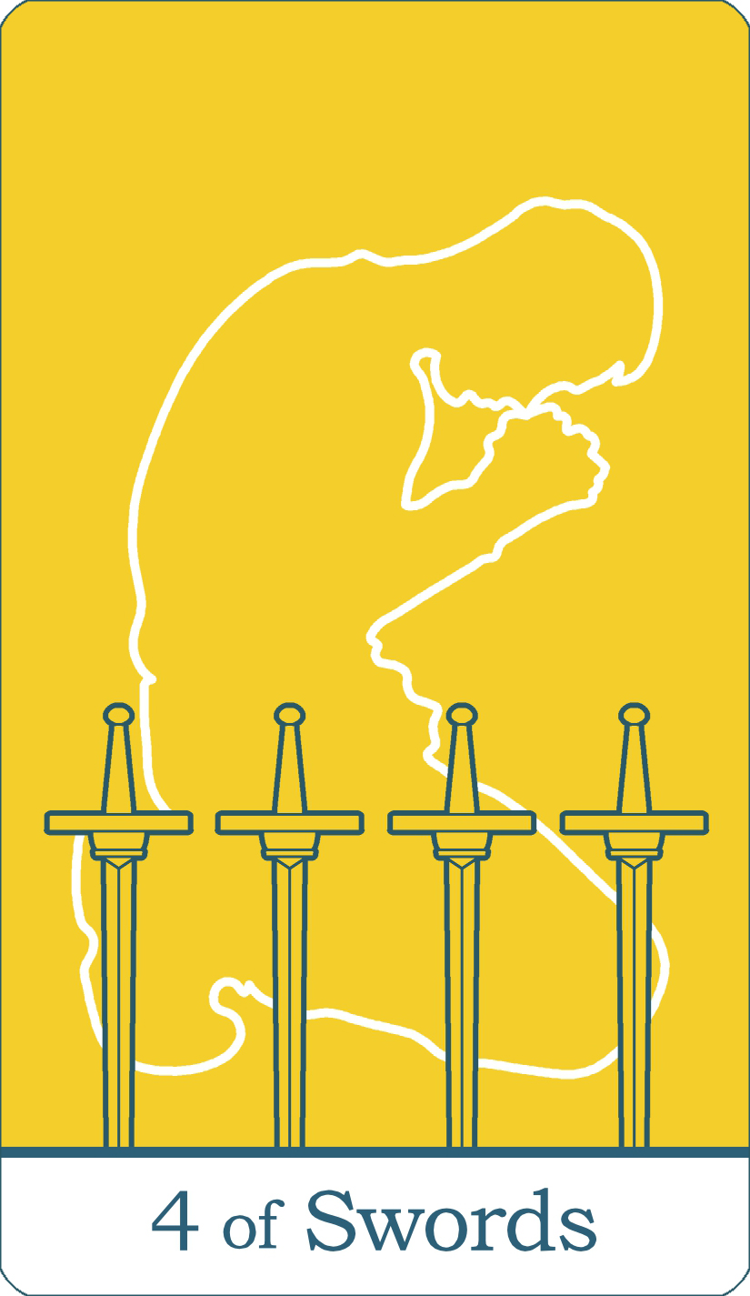 A reversed image of The Four of Swords tarot card from The Simple Tarot Deck.