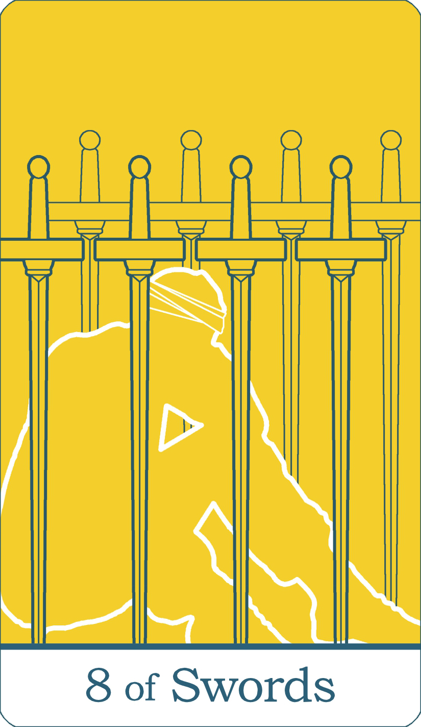 A reversed image of The Eight of Swords from The Simple Tarot Deck.