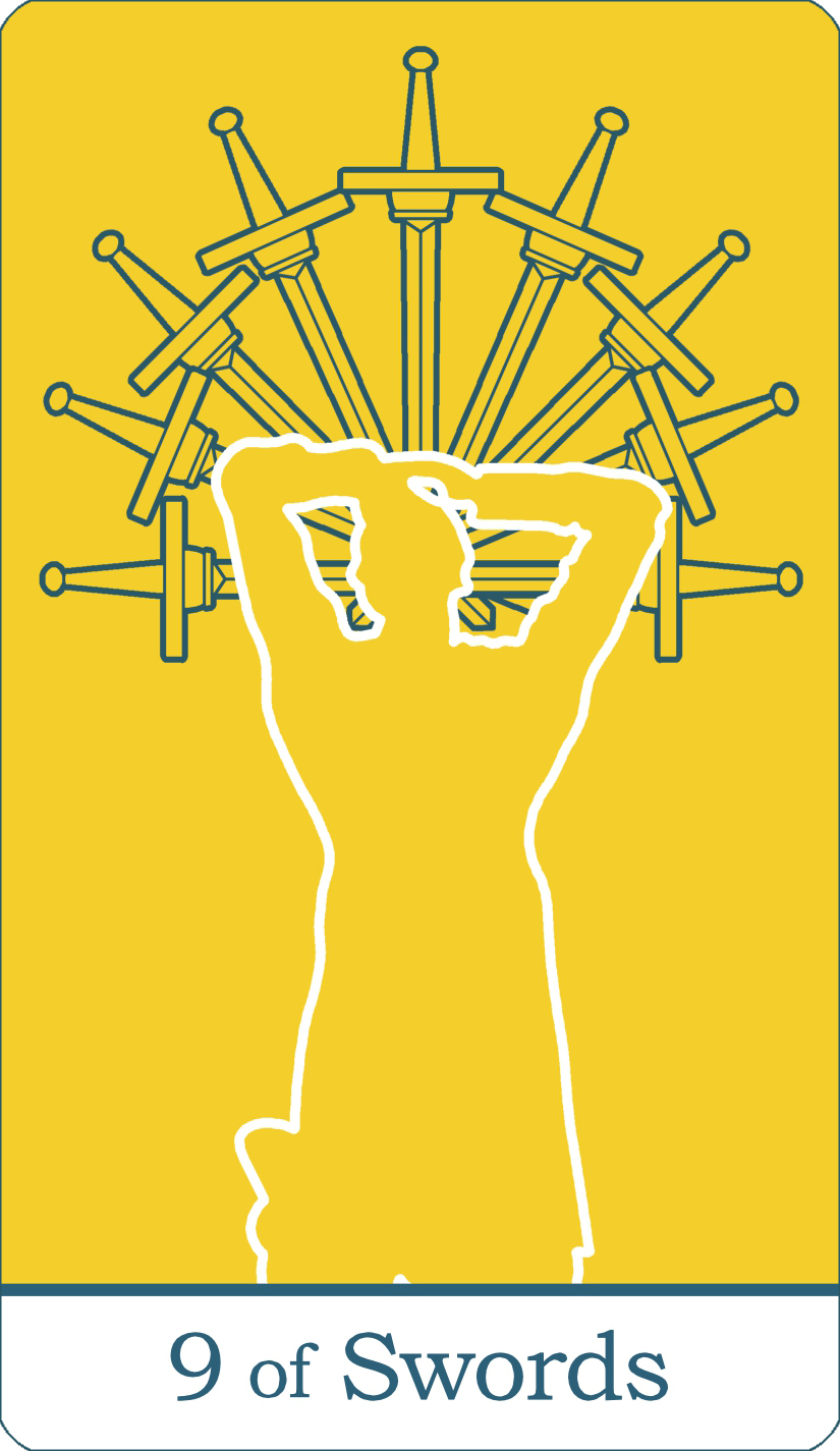 A reversed image of The Nine of Swords tarot card from The Simple Tarot Deck.