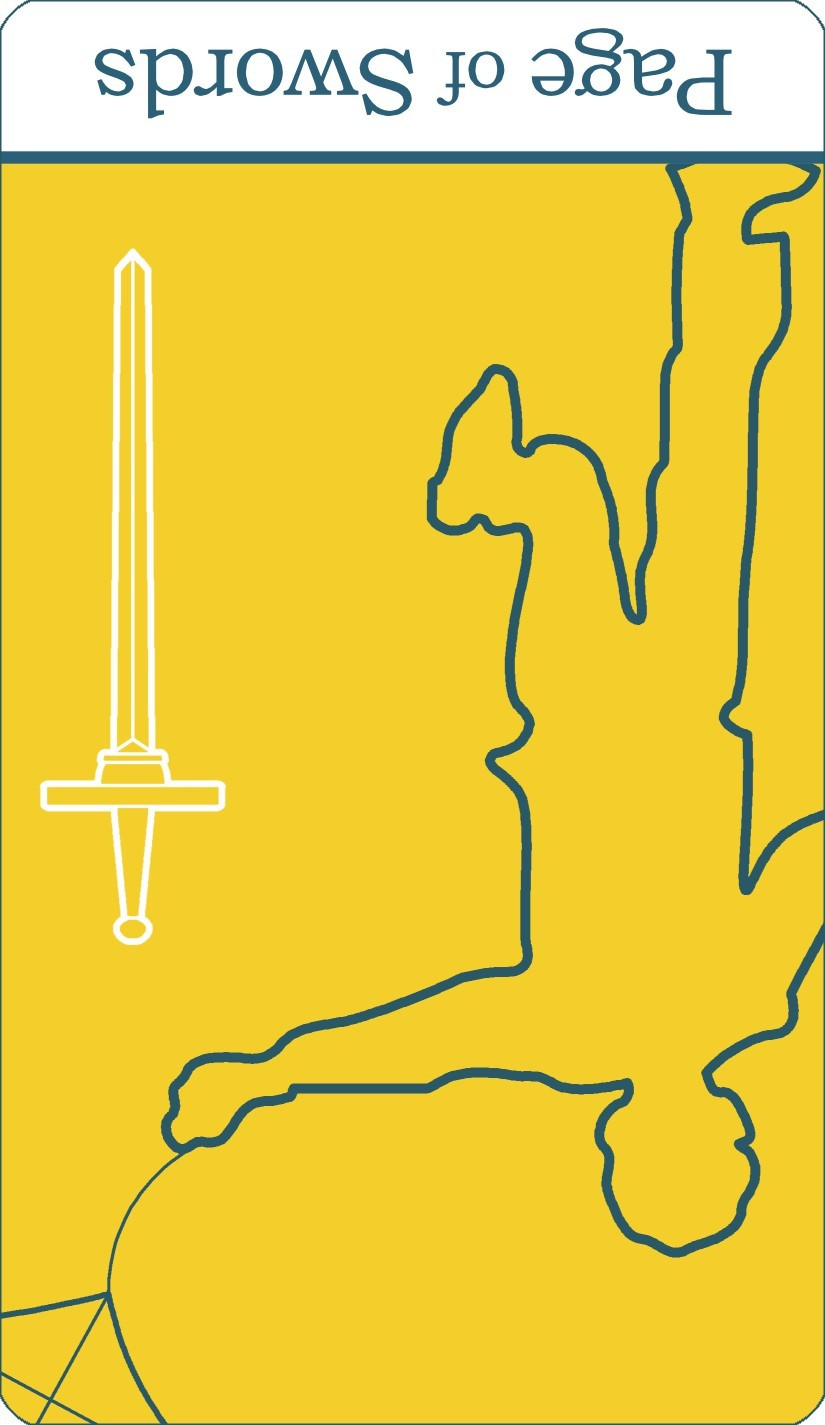 A reversed image of The Page of Swords tarot card from The Simple Tarot Deck.