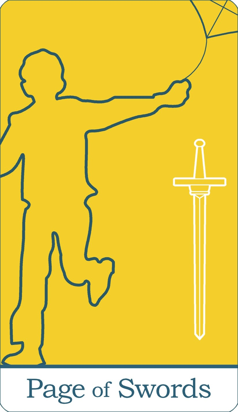 The Page of Swords tarot card from The Simple Tarot Deck.