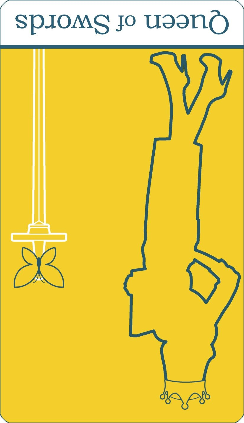 A reversed image of The Queen of Swords tarot card from The Simple Tarot Deck.