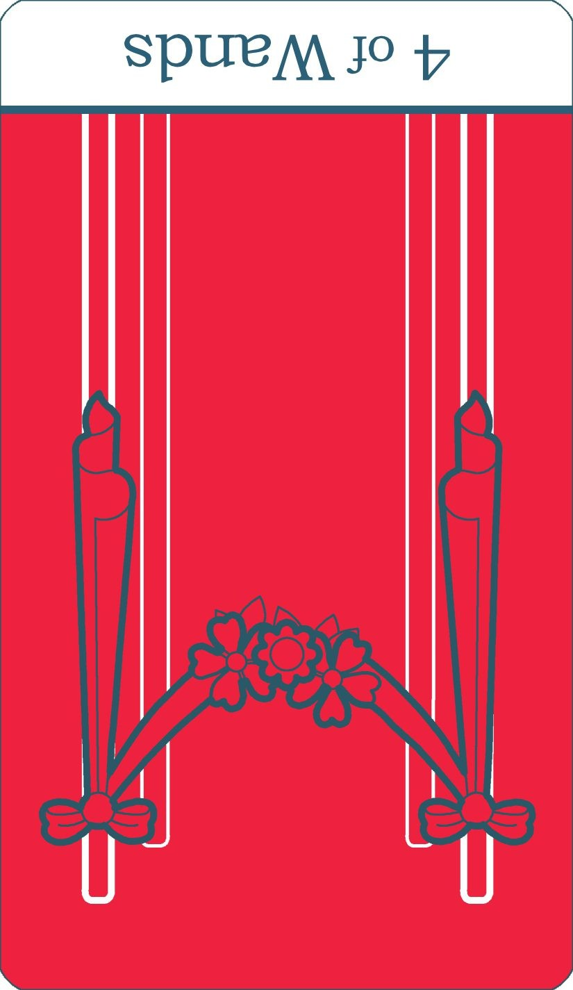 A reversed image of The Four of Wands tarot card from The Simple Tarot Deck.