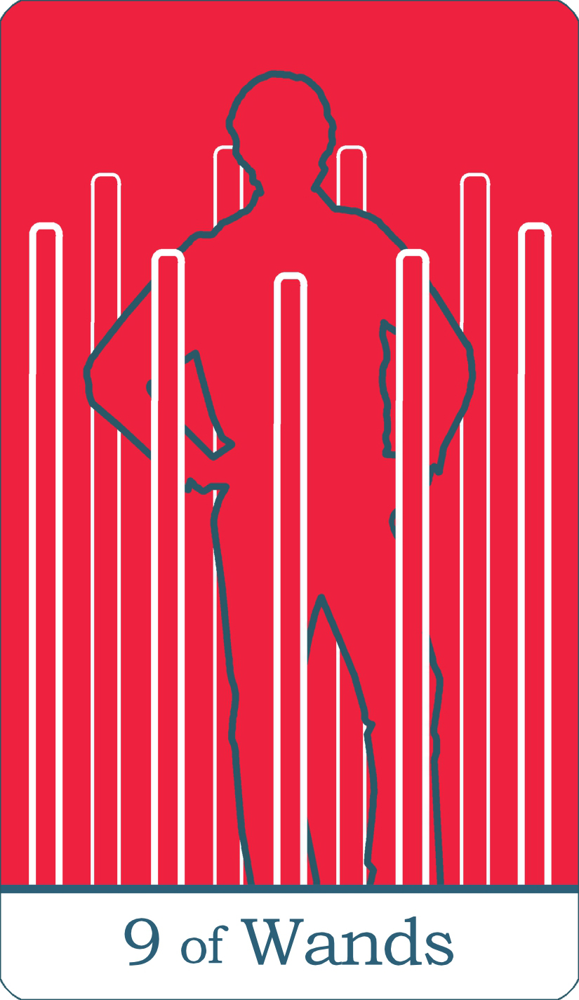A reversed image of The Nine of Wands tarot card from The Simple Tarot Deck.
