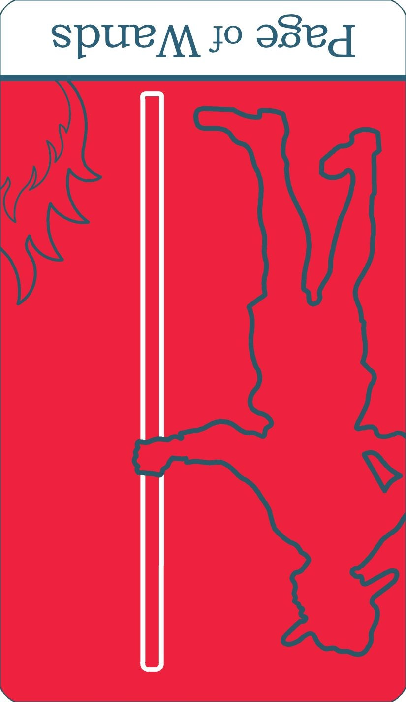 A reversed image of The Page of Wands tarot card from The Simple Tarot Deck.