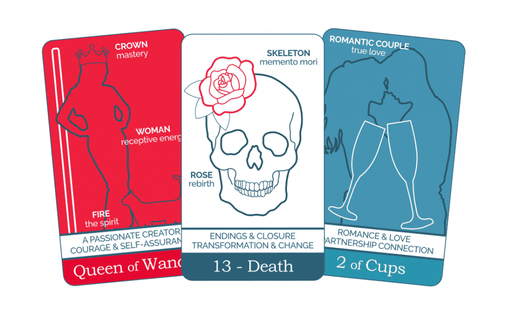 Three tarot cards from The Simple Tarot Deck