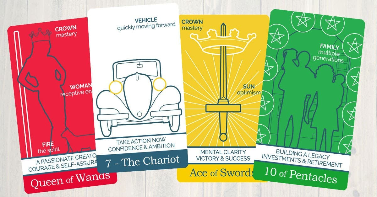 Four cards from The Simple Tarot Deck