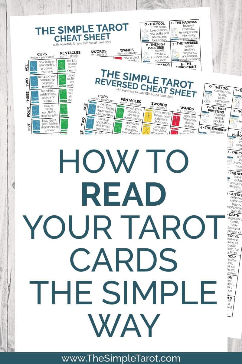 Free tarot cheat sheet PDF printable from The Simple Tarot
