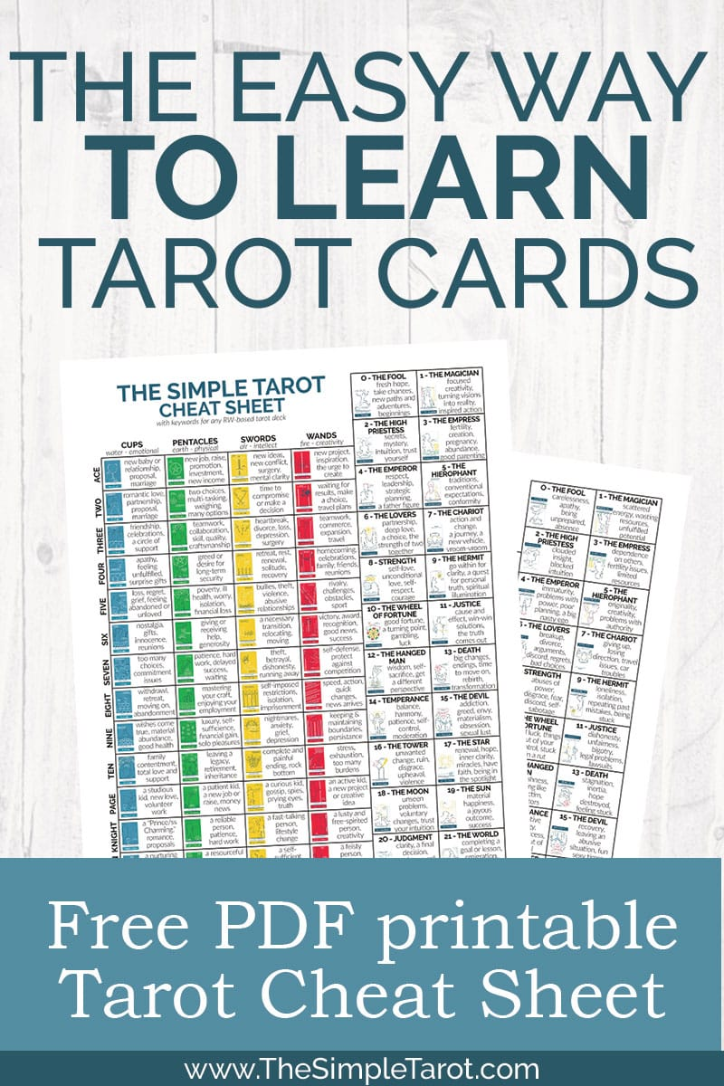 Free Printable Tarot Cheat Sheet PDF